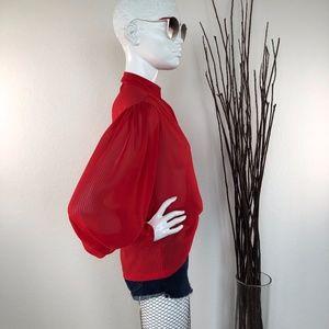 Vintage Tops - Vintage Sheer Puff Sleeve Blouse